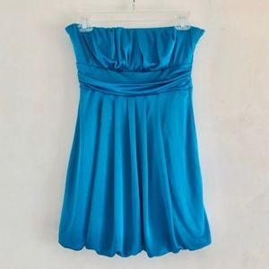 Forever 21 Blue Draped Strapless Bubble Dress